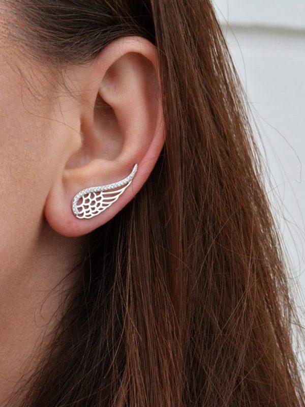 Náušnice krídla - pravé striebro
