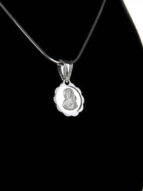 Náhrdelník s okrúhlym príveskom Panny Márie – pravé striebro