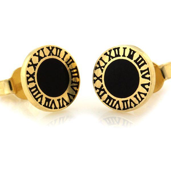 Dámske zlaté náušnice s rímskymi číslami